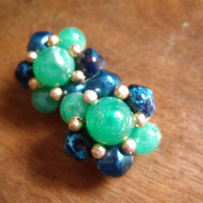 Blues and greens vintage clip on earrings
