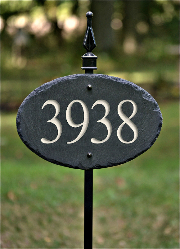 slate address plaque w lawn stake house numbers 8c the slate masons online store powered by storenvy