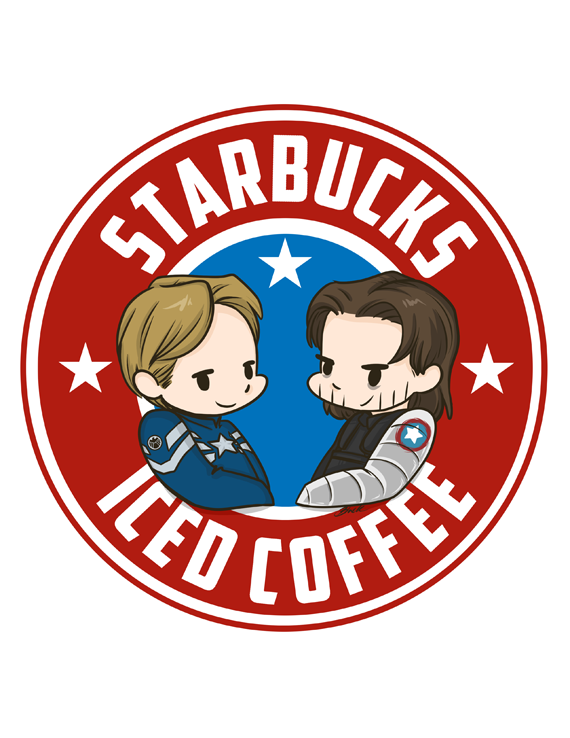 Starbucks iced coffee 8 5x11 matte fanart print featuring steve rogers captain america and