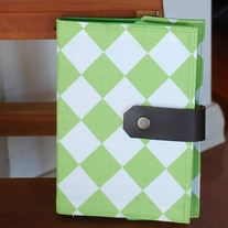 Fabric Covered A5 Journal - Lime Green Checks