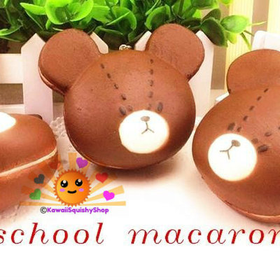 Jumbo bear's school head macaron/macaroon squishy cell phone charms