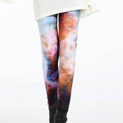 Calm white cosmic tights