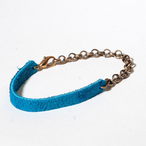 Delicate suede brass chain in turquoise blue