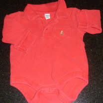 Long Sleeve Red Onesie-Baby Gap Size 3-6 Months