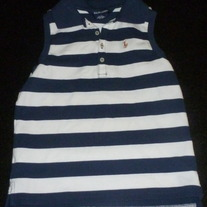 Navy/White Striped Sleeveless Shirt-Ralph Lauren Size 6X