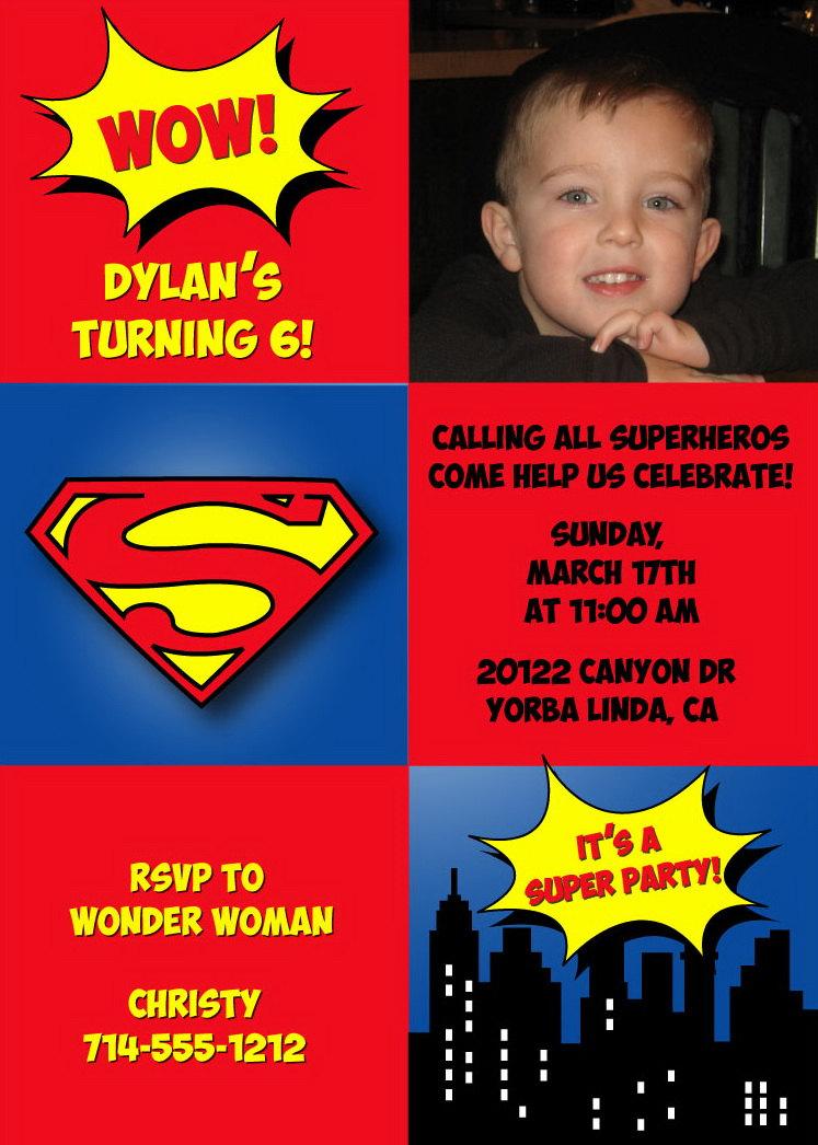 Superman Birthday Party Invitations - Digital File DIY Printable ...