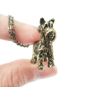 3D Realistic Schnauzer Animal Dog Breed Charm Necklace in Brass