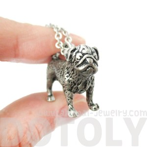 3D Realistic Pug Animal Shaped Dog Breed Life Like Charm Necklace in Silver