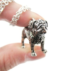 3D Realistic Pug Animal Shaped Dog Breed Life Like Charm Necklace in Shiny Silver