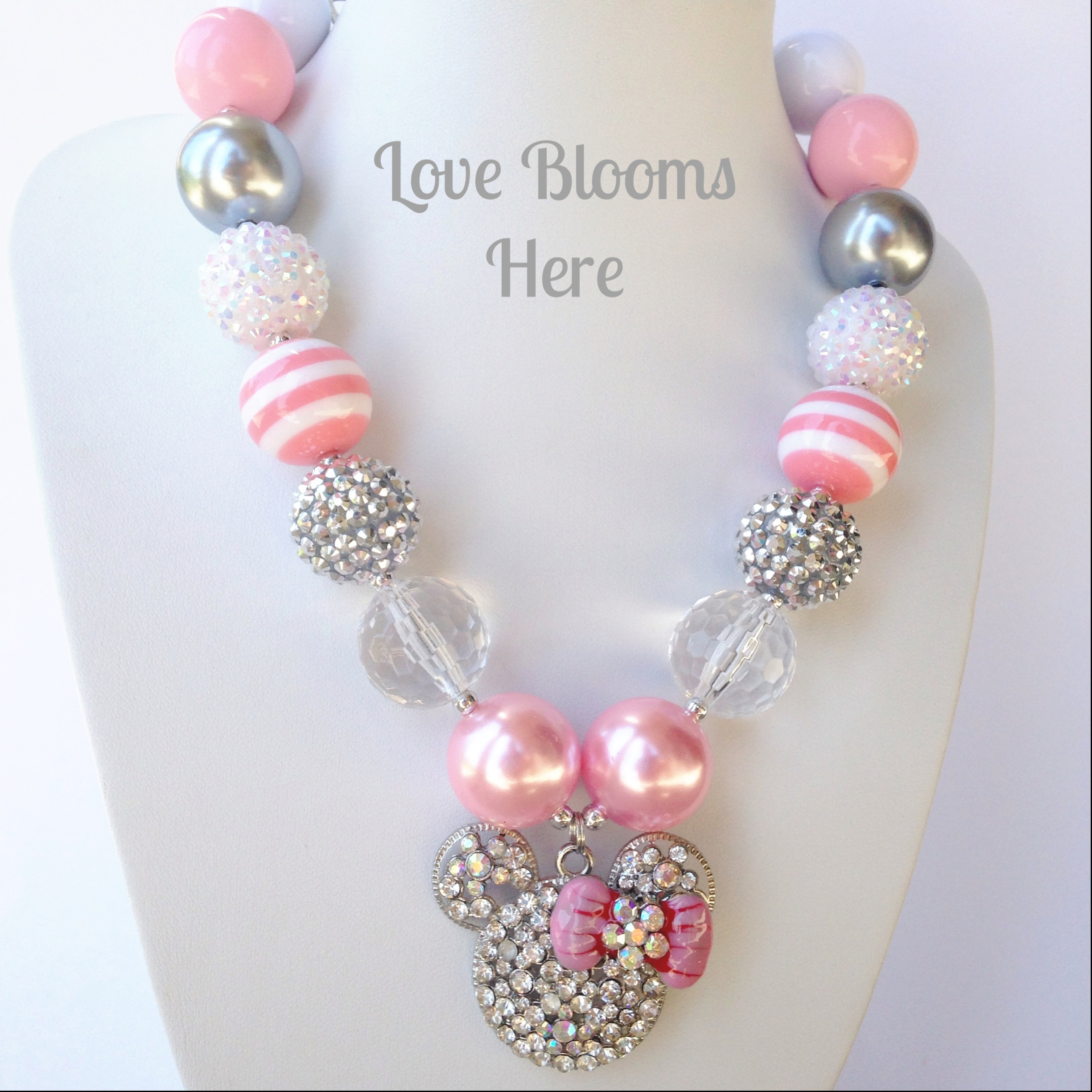 image collections bead thumbnail mouse disney chunky princess blooms bubblegum pink necklaces love original here minnie necklace products