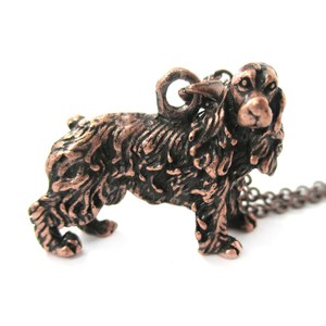 3D Realistic English Cocker Spaniel Animal Dog Breed Charm Necklace in Copper