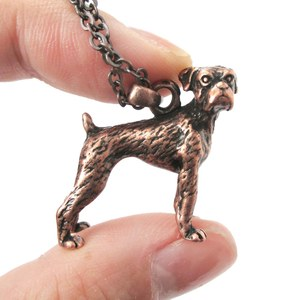 3D Realistic Boxer Dog Breed Animal Charm Necklace in Copper
