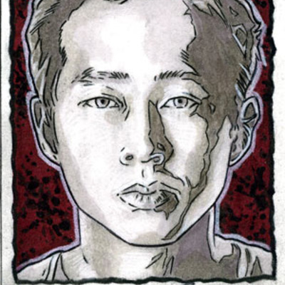 The walking dead season 3 glenn artist return sketch card
