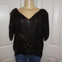 Vintage Black Sequins Shirt