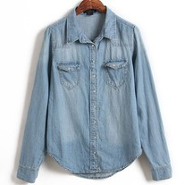 Washed Denim Blouse