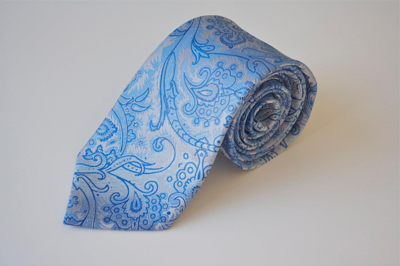 Men's Tie Light Blue Paisley