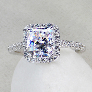 3 CT Center Princess Radiant Cut NSCD SONA SIMULATED Diamond Wedding