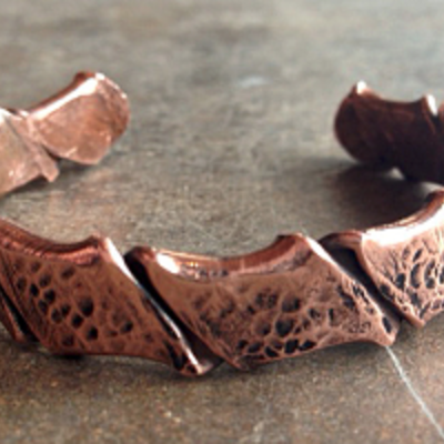 Twisted thick copper cuff bracelet