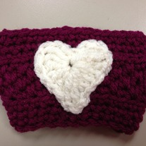 White Heart on Magenta Cup Cozy