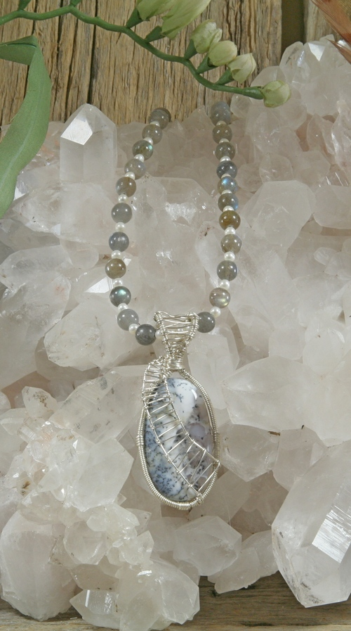 Labradorite and pearl necklace with dendritic agate merlinite labradorite and pearl necklace with dendritic agate merlinite pendant aloadofball Choice Image