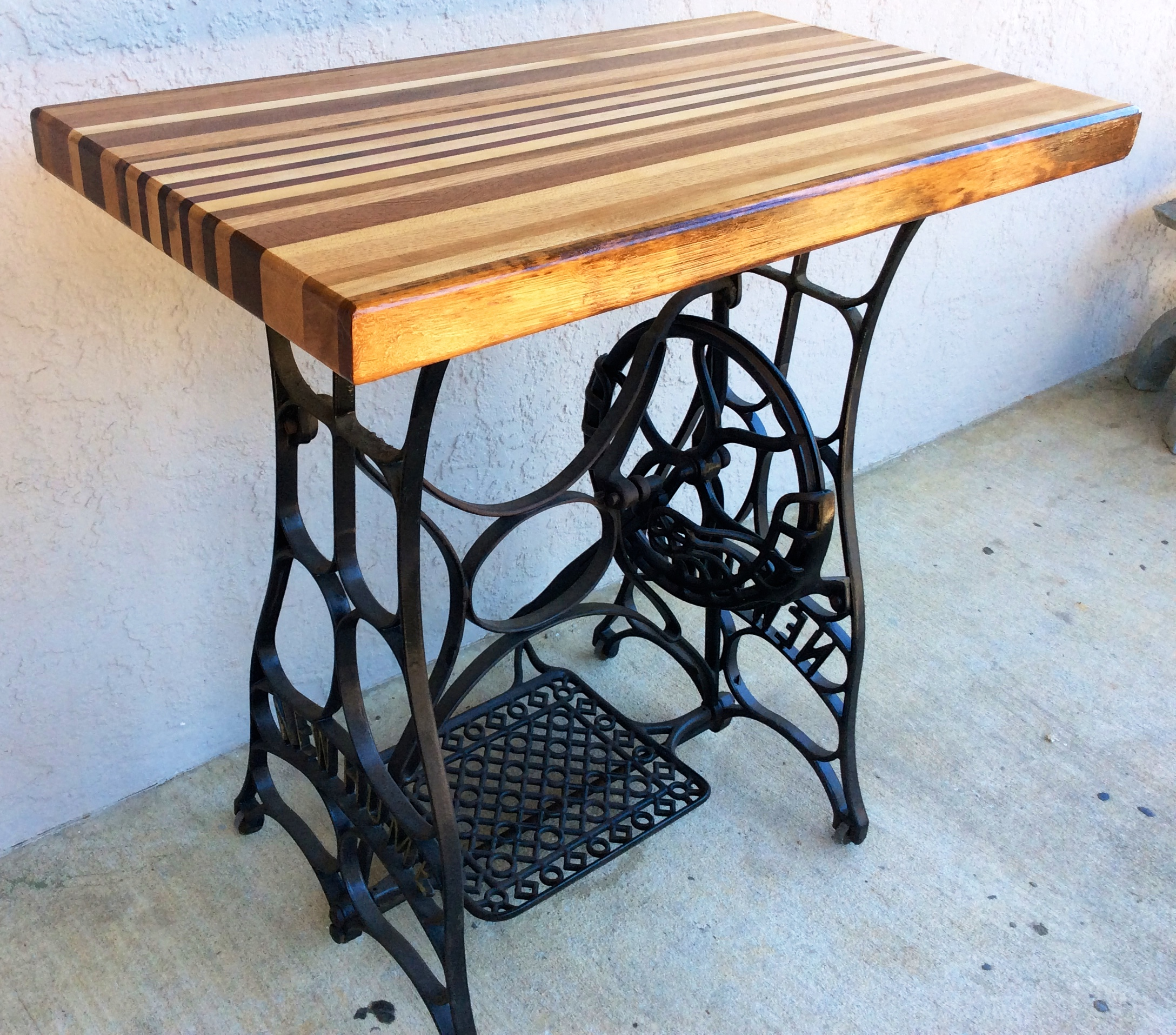 refurbished 1920s new home sewing machine butcher block table
