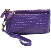 Leather Crocodile Clutch with detachable wristlet - 3 colors