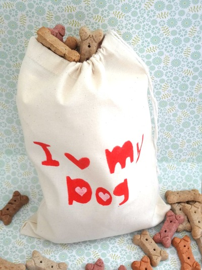 Doggie Storage Bag/Produce Bag/Treats Bag - I Heart My Dog
