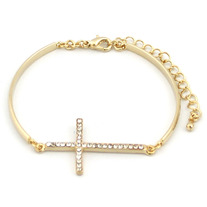 Simple Crystallized Sideways Cross Bracelet (More Colors Available)