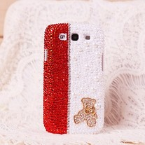 Sparkle Teddy Bear Pearls,Red Crystals Samsung Galaxy S3 i9300 Case