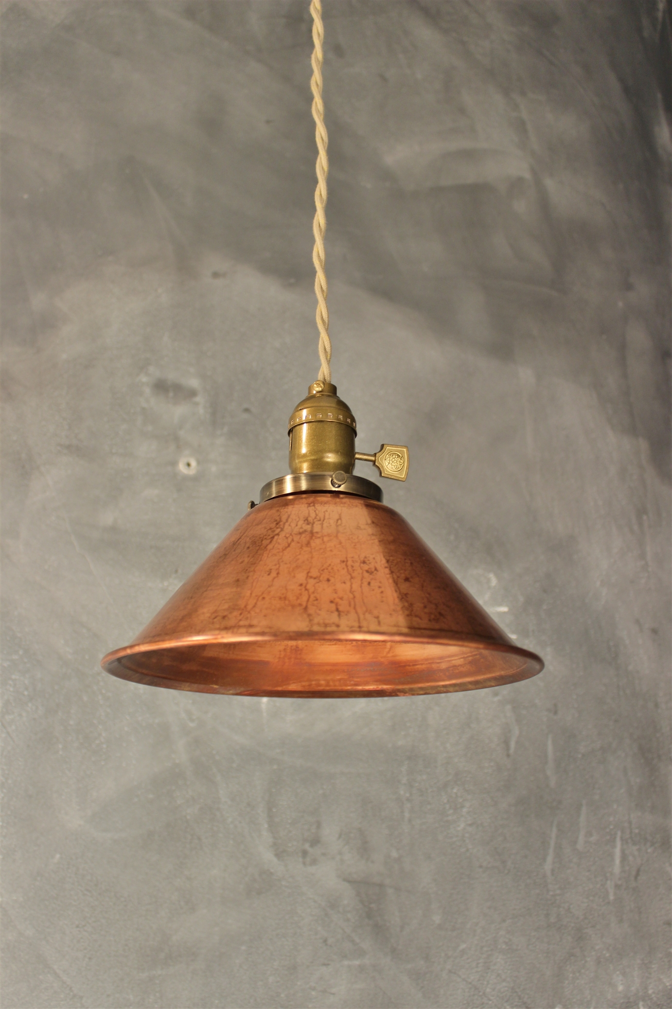 Industrial pendant lamp w weathered copper lamp shade vintage industrial pendant lamp w weathered copper lamp shade vintage factory light thumbnail 1 aloadofball Gallery