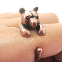 3D Miniature Polar Bear Teddy Animal Wrap Hug Ring in Copper - US Size 4 to 8.5