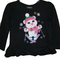 Ski Bear Embroidered Applique Girls Long Sleeve Swing Top