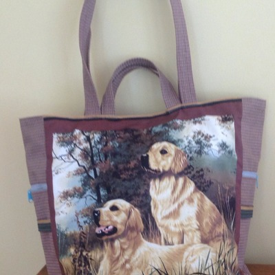 Beautiful golden retriever  tote with double handle