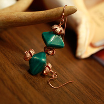 Green Diamond Earrings with Copper