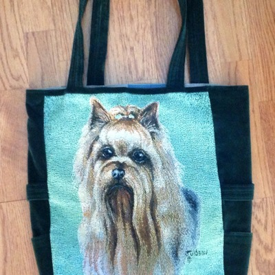 Yorkie tapestry print tote purse!
