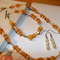 Orange Mother of Pearl Set