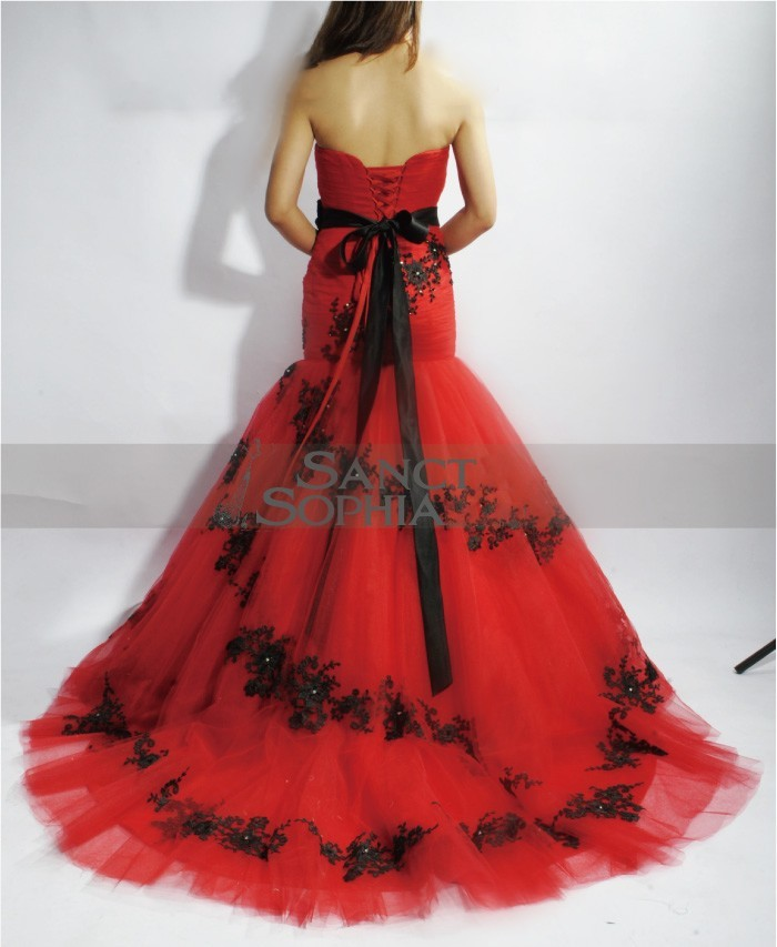 mermaid red and black lace wedding dress sanct sophia online