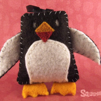 Felt Christmas Ornament, Felt Animal - Cummerbund the Penguin