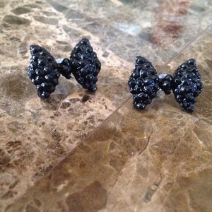 Black Bow Tie Earrings
