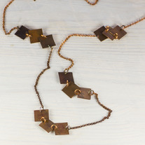 Squares Copper Long Necklace