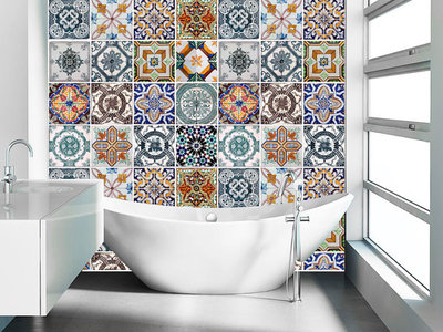 Http Moonwallstickers Storenvy Com Collections 545966 Tiles Stickers Decals Products 9133225 Portuguese Tiles Sticker For Kitchen Home Wall Decor Pack 48