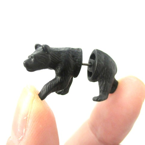 unique fake gauge realistic 3d bear animal stud earrings in black dotoly animal jewelry the. Black Bedroom Furniture Sets. Home Design Ideas