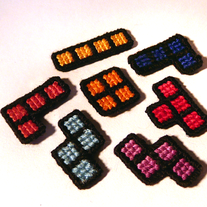 Cross-stitch Tetris Magnets: beach sunset
