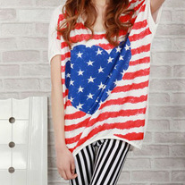 Oversized Baggy American Flag Print Star T Shirt