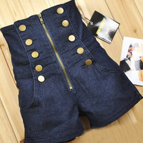 High Waist Dark Denim Gold Button Accented Shorts