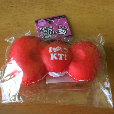 Hk red macaroon bow squishy