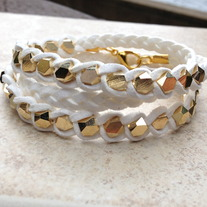 White Multi Facet Wrap Bracelet