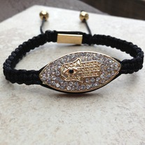 18K Gold Plated Crystal Hamsa Bracelet