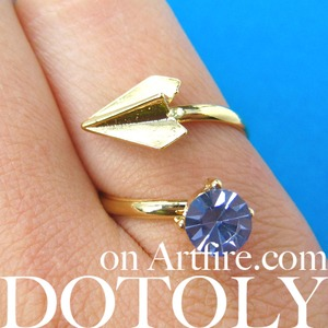 Adjustable Paper Airplane Origami Ring in Gold with Rhinestone Detail