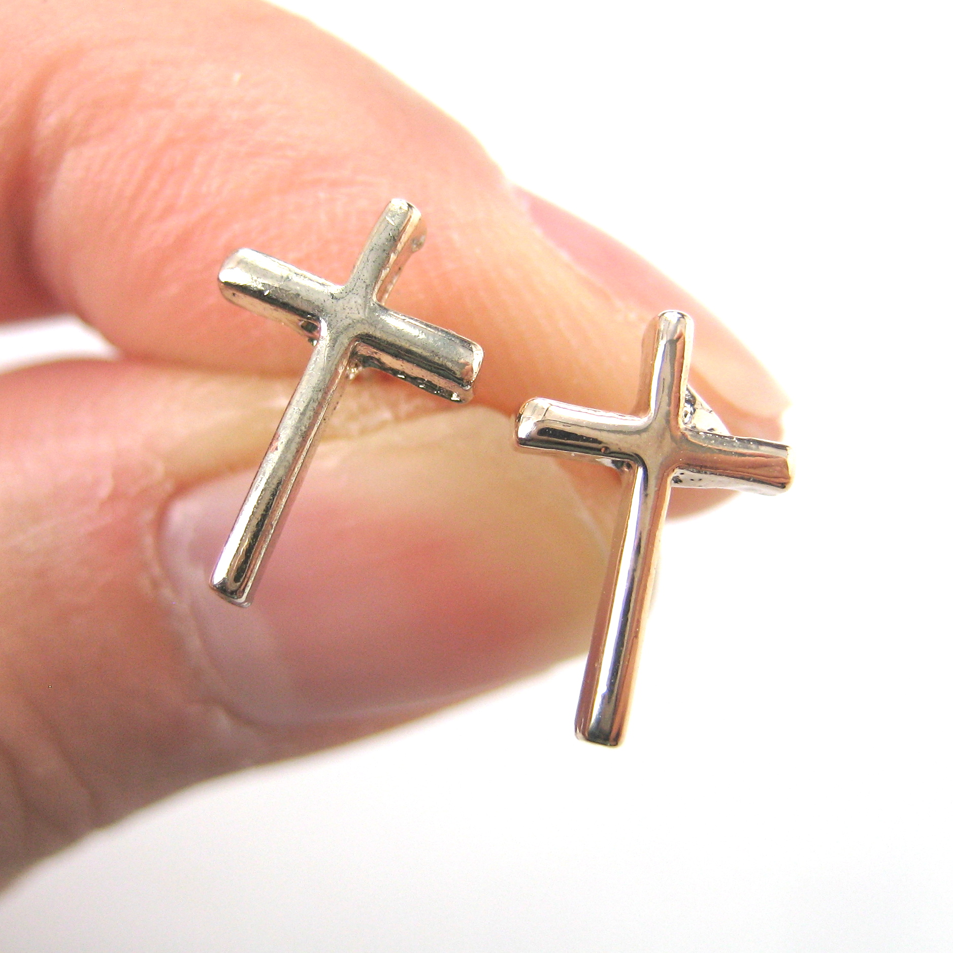 simple in silver dotoly stud shaped earrings original plus products cross img small